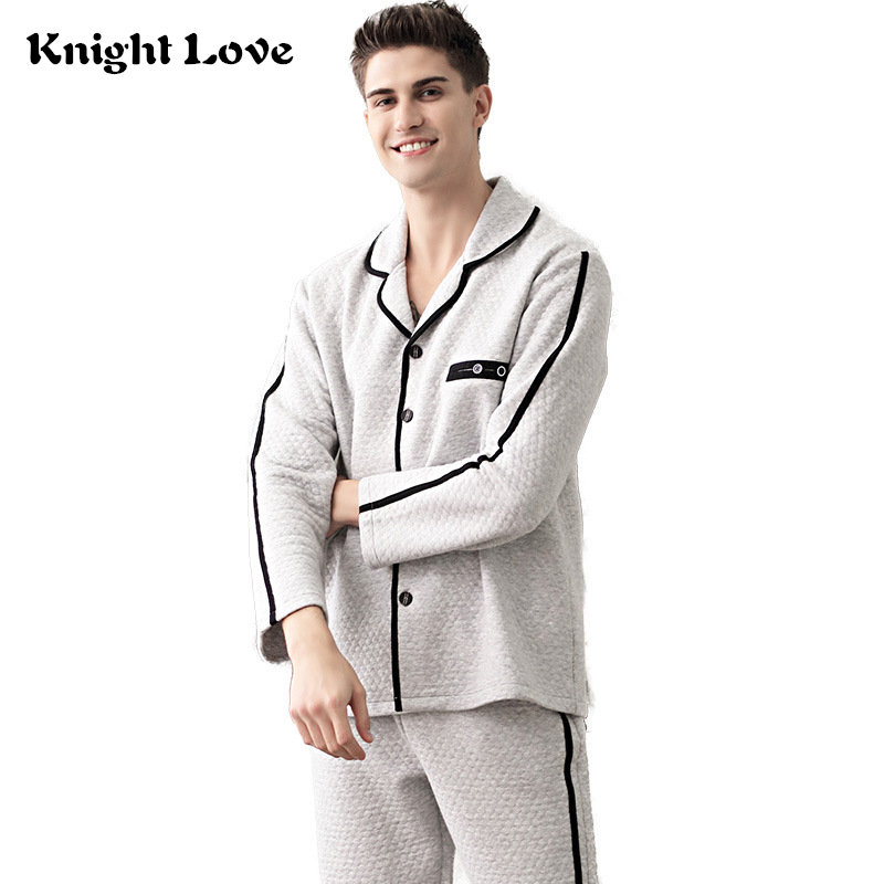Men Pajamas Set Winter Luxury 100% Cotton Soft Thicken Homewear Warm Sleepwear Pyjama Set Plus Size Thermal Home Clothing