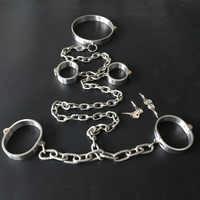 Women Men Stainless Steel Neck Collar Hand Wrist And Bdsm Bondage Ankle Cuffs With Binding Bolt Lock Accessories Metal Handcuffs