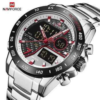Top marka Luxury NAVIFORCE Men zegarek z podwójnym wyświetlaczem moda męska analogowe cyfrowe zegarki kwarcowe ze stali nierdzewnej męski zegar sportowy tanie i dobre opinie 24cm Podwójny Wyświetlacz 3Bar Składane zapięcie z bezpieczeństwem Stop 17 5mm Hardlex Kwarcowe Zegarki Na Rękę Nie pakiet