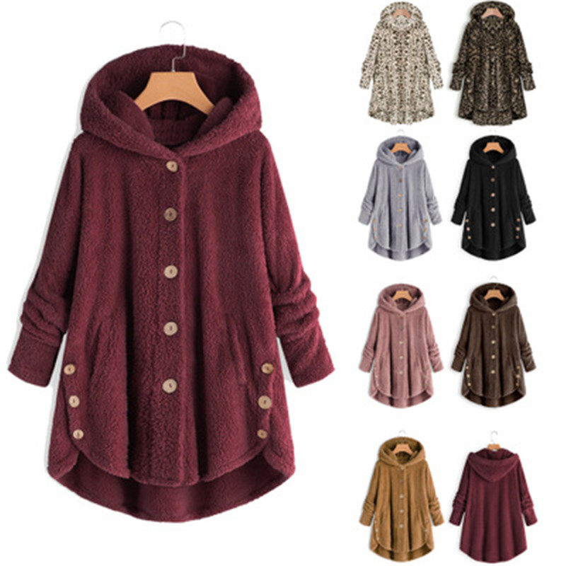 Women Fluffy Coat Winter Casual Loose Solid Button Fleece Hooded Teddy Bear Coat Female Cute Warm Soft Plus Size Winter Outwear