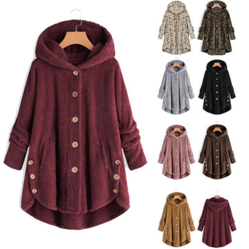Women Fluffy Coat Winter Casual Loose Solid Button Fleece Hooded Teddy Bear Coat Female Cute Warm Soft Plus Size Winter Outwear
