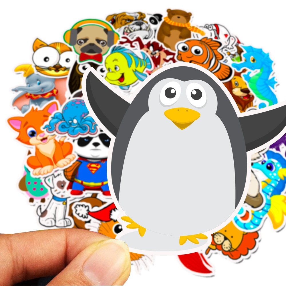 50Pcs Cartoon Animals Sticker for Kids Toy Luggage Skateboard Phone on Laptop Moto Bicycle Wall Guitar Stickers