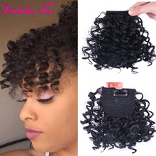 Wig Bang Fake-Fringe-Clips Afro Curly Hair-Closure Synthetic-Hair-Extension Natural-Black