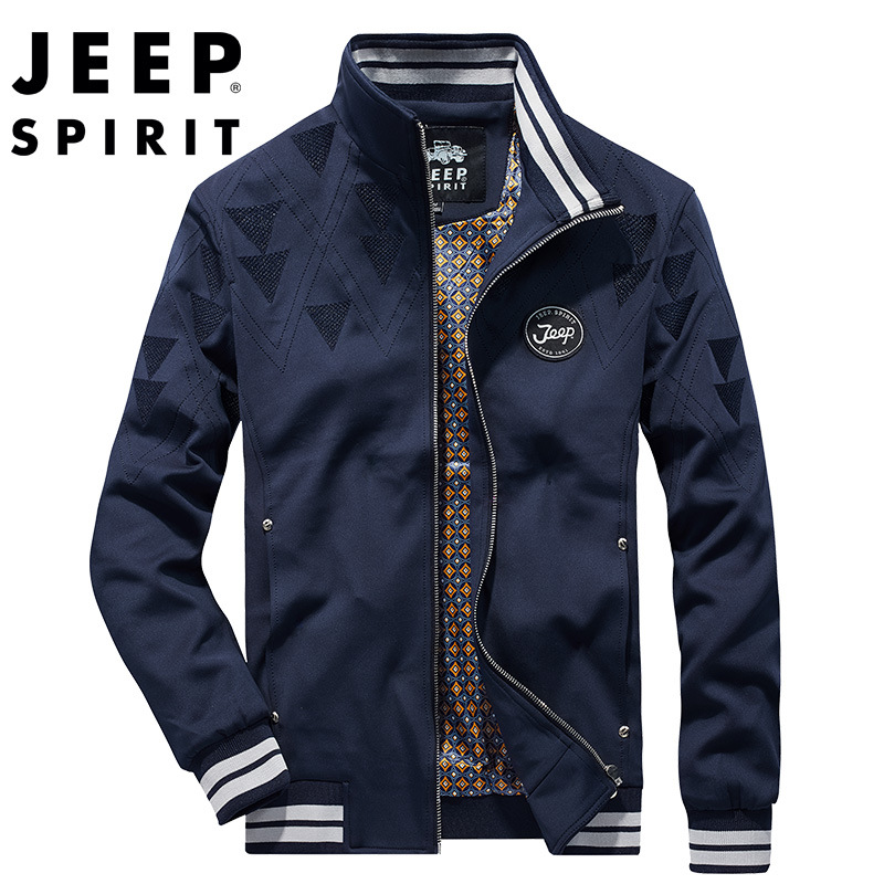 JEEP SPIRIT men's jacket new fashion wear-resistant anti-wrinkle simple tops thin section casual stand collar jacket clothes