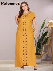 Женское платье-Кафтан KALENMOS, длинное марокканское платье-макси в турецком мусульманском стиле, летняя одежда