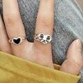 Корейская мода плачет кольцо с сердечком для женщин, пляжная одежда, современные винтажные серебристый цвет открыт Регулируемые кольца Спе...