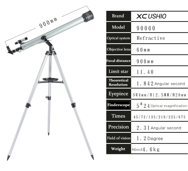 portátil spotting scope 900 60m telescopio