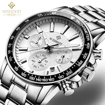 WISHDOIT Top Brand Luxury Men's Watch Waterproof Quartz Military Leisure Sports Chronograph Watch Steel Band Relogio Masculino 1