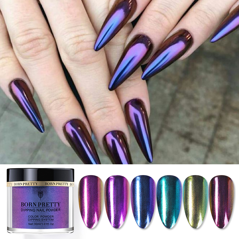 BORN PRETTY 30ml Chameleonic Acrylic Dipping Nail Powder No Lamp Cure Natural Dry Nail Glitter Powder Dust Nail Art Decoration