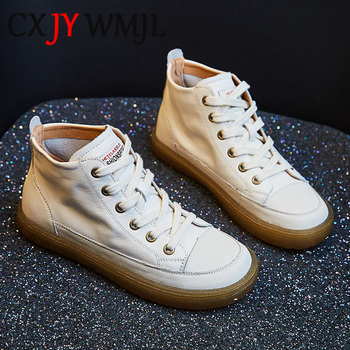 Large Size Genuine Leather Sneakers Women Autumn Casual Shoes Round Toe Ladies Shoe Fashion Comfortable Breathable Flat Boots 42 spring autumn soft bottom genuine leather comfortable flats large size women shoes flat with lace casual shoes elderly shoes