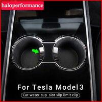 Model3-Ranura para tazas de agua para coche, Clip de límite de deslizamiento para Tesla modelo 3 2021, modelo Y accesorios, limitador de vaso de coche