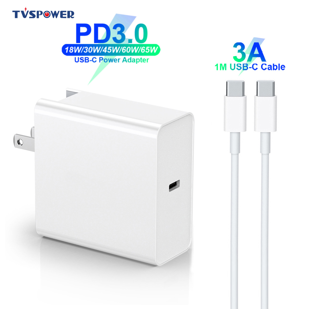 18W/30W/45W/<font><b>60W</b></font>/65W <font><b>USB</b></font>-C Power Adapter 3A Cable,PD/QC3.0 <font><b>Charger</b></font> For xiaomi Huawei MacBook iPhone/iPad s9/10 (and C-C cable) image