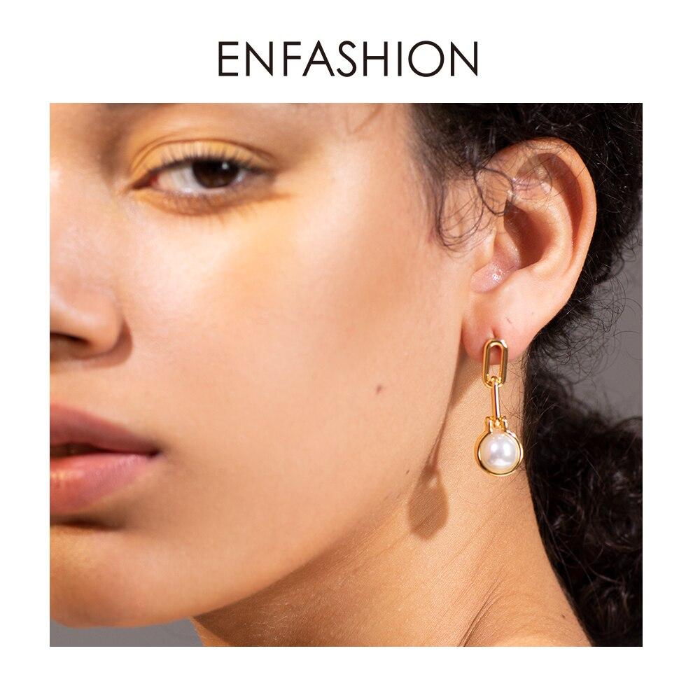 ENFASHION Link Chain Pearl Drop Earrings For Women Gold Color Geometric Dangle Earings Fashion Jewelry Dropshippping E191142