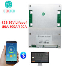 12S 36V Smart BMS Lifepo4 3.2V Lithium Battery Protection Board PC Phone Bluetooth APP 80A 100A 120A Pack Balance SOC Coulometer(China)