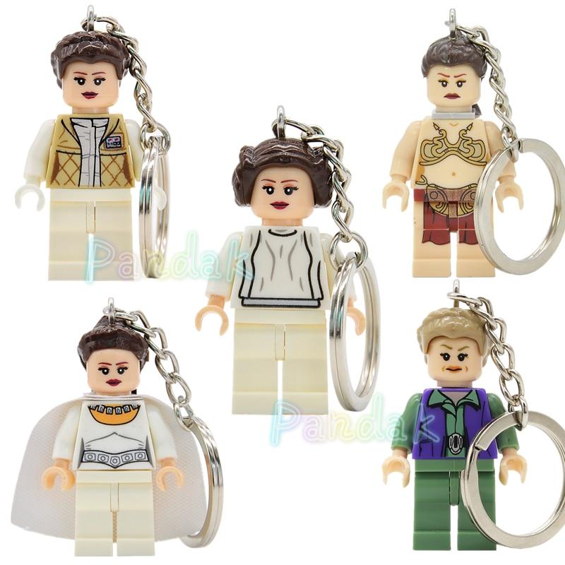 Princess LEIA Figure Keychain For Key Custom DIY Ring Key Chain Building Blocks Models Toys Slave Leia Legoing