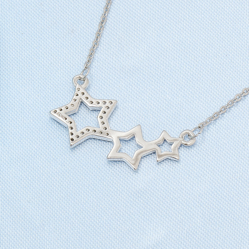 Fashion Full Diamond Necklace Female Fashion Wild Five-pointed Star Pendant Necklace S925 Sterling Silver Tiktok Popular
