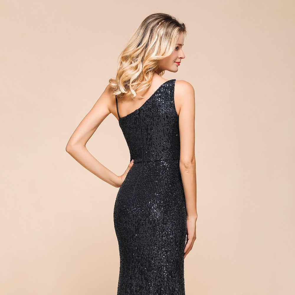 סקסי שחור אחת כתף בת ים ארוך שמלת ערב ללא משענת 2020 פאייטים ערב לנשף שמלות גבישי Robe דה Soiree לונג