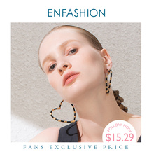 ENFASHION Heart Big Hoop Earrings For Women Accessories Gold Color Statement Mixed Color Hoops Earings Fashion Jewelry E191097