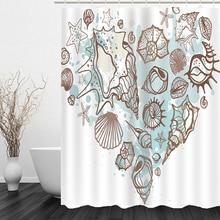 Seashell Starfish Beach Theme Shower Curtain Waterproof Polyester Fabric Shower Curtain Set with Hooks for bathroom beach sunlight waterproof shower curtain
