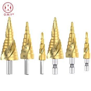 цена на HSS Spiral Grooved Step Drill Bit 4-12/20/32mm Wood Drill Bit Set Carbide Mini Drill Accessories Titanium Cone Drills for Metal