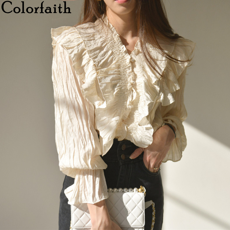 Colorfaith New 2020 Women Summer Blouse Shirts Fashionable Single Breasted Casual Ruffles Pagoda Sleeve Pleated Wild Tops BL9002