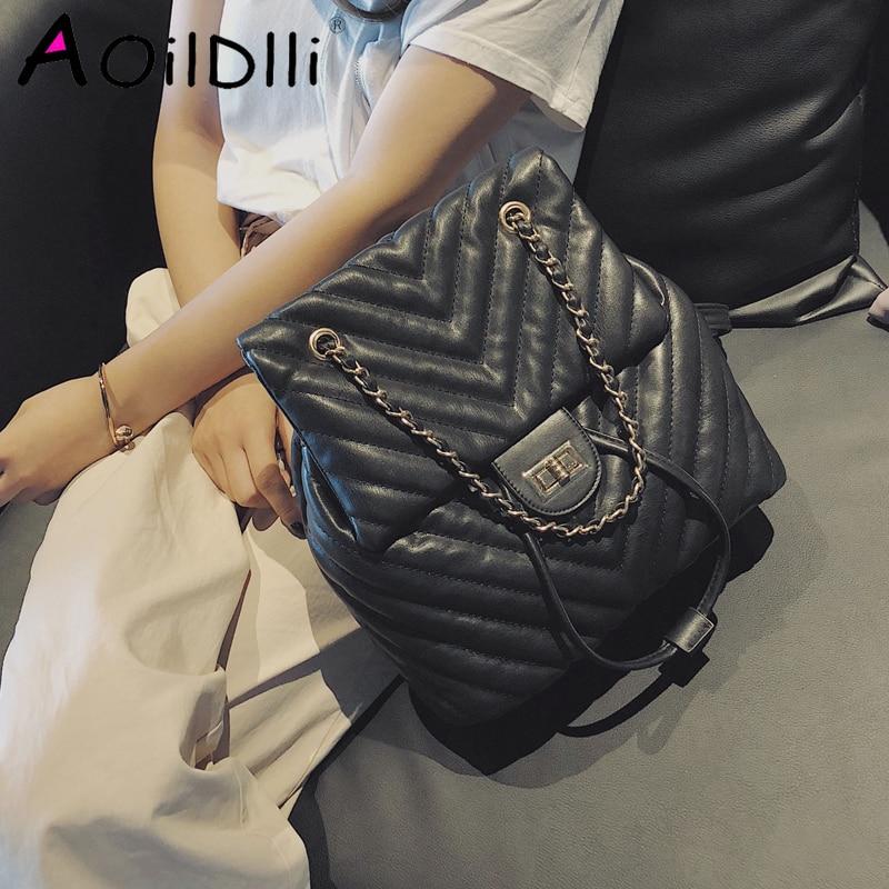 Casual Women Backpack Luxury Soft PU Leather Backpacks Female Lingge Chain Shoulder Bag For Teenage Girls Travel Large Purses