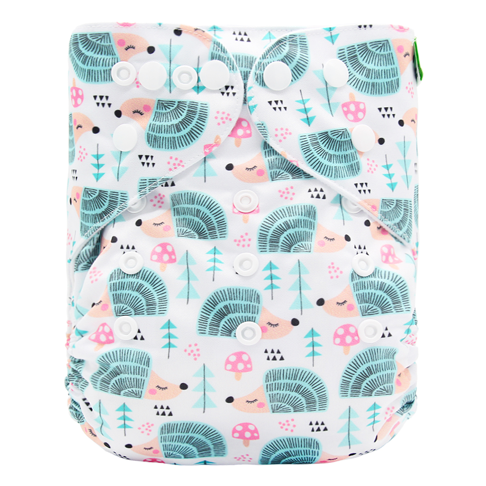 Goodbum Washable Adjustable Hedgehog Printed Cloth Pocket Diaper Double Row Snaps Cloth Nappy For Baby