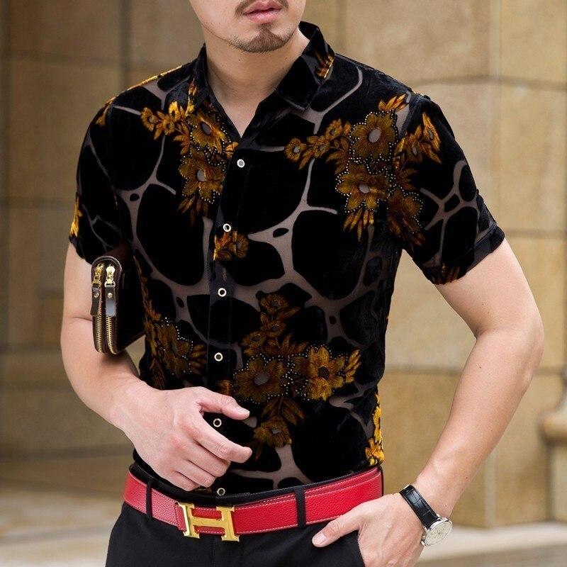 Flower Shirt Hawaiian Man Shirt Transparent Short Sleeve Camicia Uomo 2020 Fashion Camisa Hombre Shirt Camisa Social Streetwear