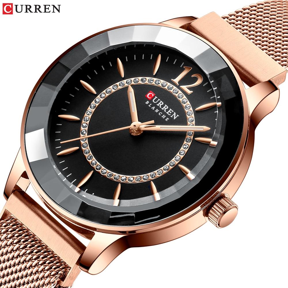 CURREN Charming Rhinestone Quartz Watch Fashion Design Watches Women Stainless Steel Band Clock Female Luxury reloj mujer-in Women's Watches from Watches
