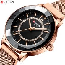 CURREN Charming Strass Quarzuhr Mode Design Uhren Frauen Edelstahl Band Uhr Weibliche Luxus reloj mujer