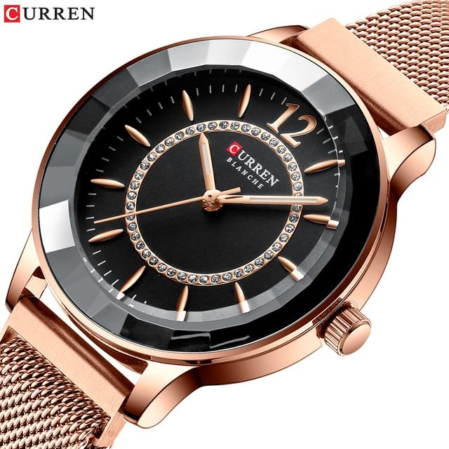 CURREN büyüleyici Rhinestone Quartz saat moda tasarım saatler kadınlar paslanmaz çelik şerit saat kadın lüks reloj mujer
