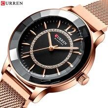 CURREN montre à Quartz strass pour femmes, Design tendance, bracelet en acier inoxydable, horloge de luxe