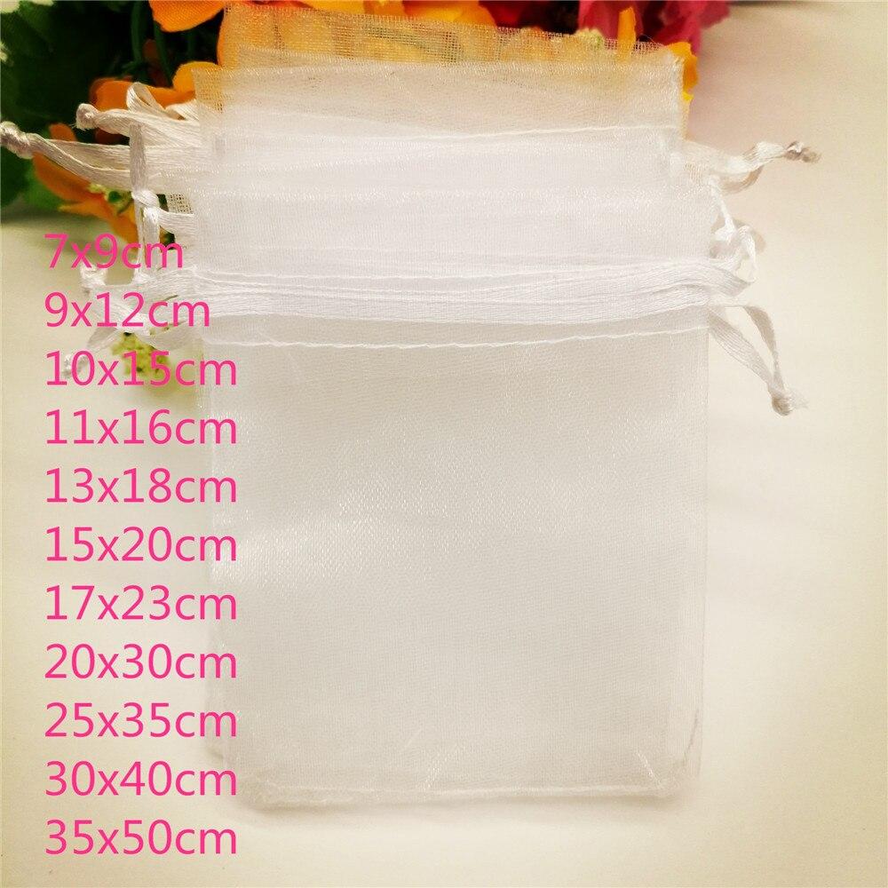 100pcs White Drawstring Organza Jewelry Bags Pouch 7x9cm Jewelry Packaging For Jewelry Packaging Display Jewellery Bag Pouches