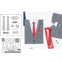 Metal Cutting Dies and Rubber Stamps Tie Bow Tie Letters Father's Day Scrapbooking Stencil Album Paper Make Template Model Craft