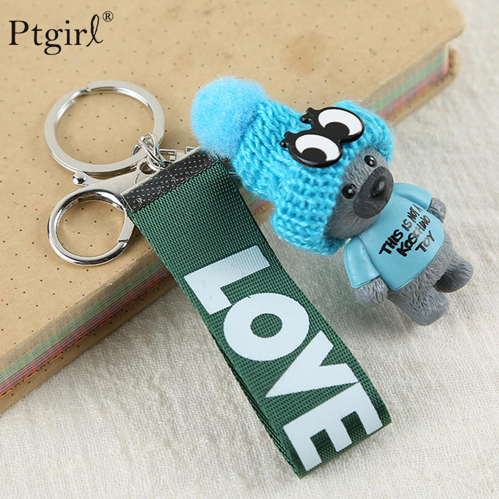 New Arrival Cute Teddy Bear Bag Accessories Key Chain'THIS IS NOT A KOSCHINO TOY' PTgirl Animal Pattern KeyChain For Girl Friend