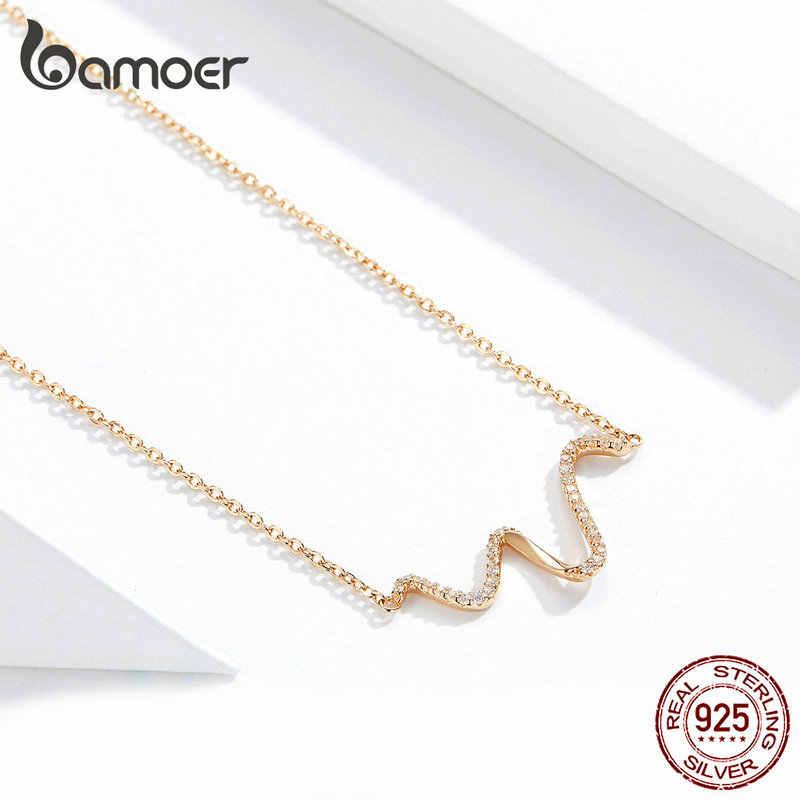 Bamoer Minimalist Simple Wave สั้นสร้อยคอผู้หญิงเกาหลีแฟชั่น 925 เงินสเตอร์ลิง Rose Gold เครื่องประดับ BSN107