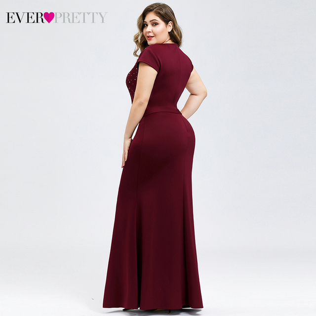 Plus Size Burgundy Evening Dresses For Women Ever Pretty EP07623BD Mermaid V-Neck Beaded Elegant Party Gowns Vestido Comprido 2