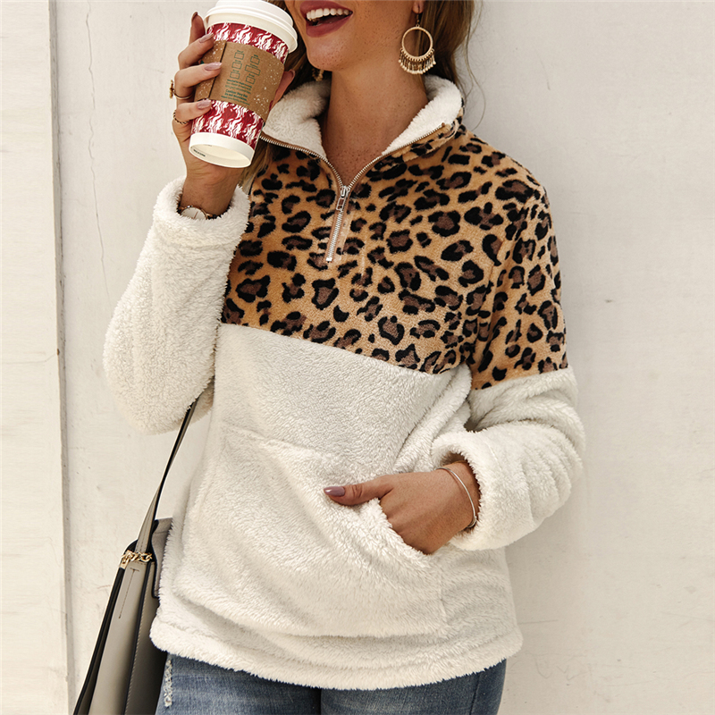 New Winter Warm Zipper Pullovers Women Coat Tops Fleece Sweater Fashion Leopard Patchwork Fluffy Thick Sweaters Plus Size