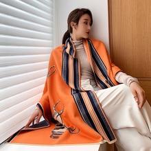 Зимний кашемировый шарф с животным принтом, новинка 2020, женские толстые теплые шали и палантины, брендовый дизайнерский одеяло с рисунком лошади, накидка