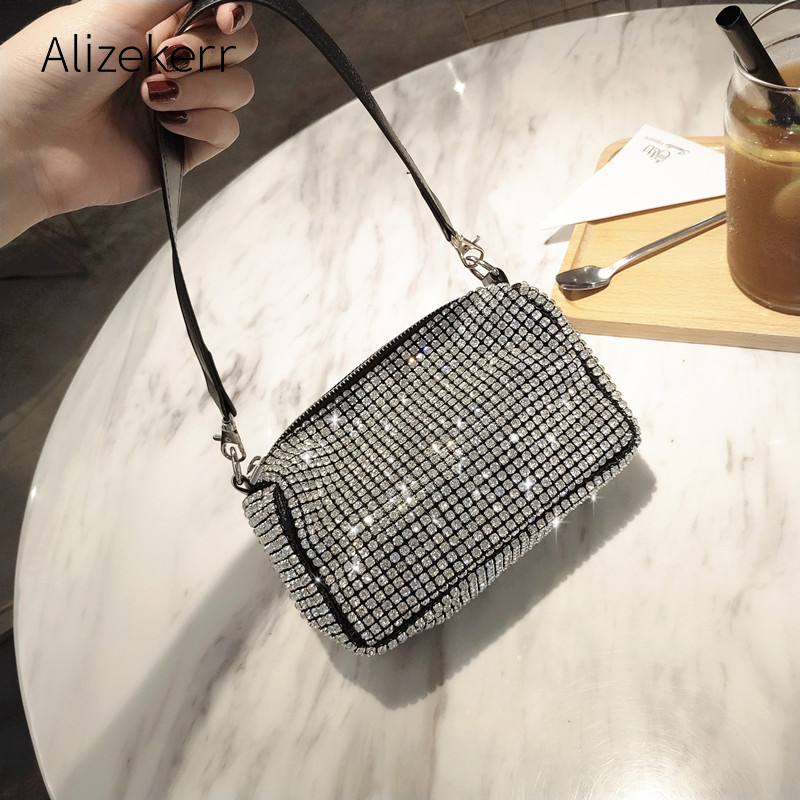 Bling Diamonds Evening Clutch Bag Women New Korean Soft Pillow Small Tote Handbag Shoulder Bags Ladies Dinner Party Clutch Purse