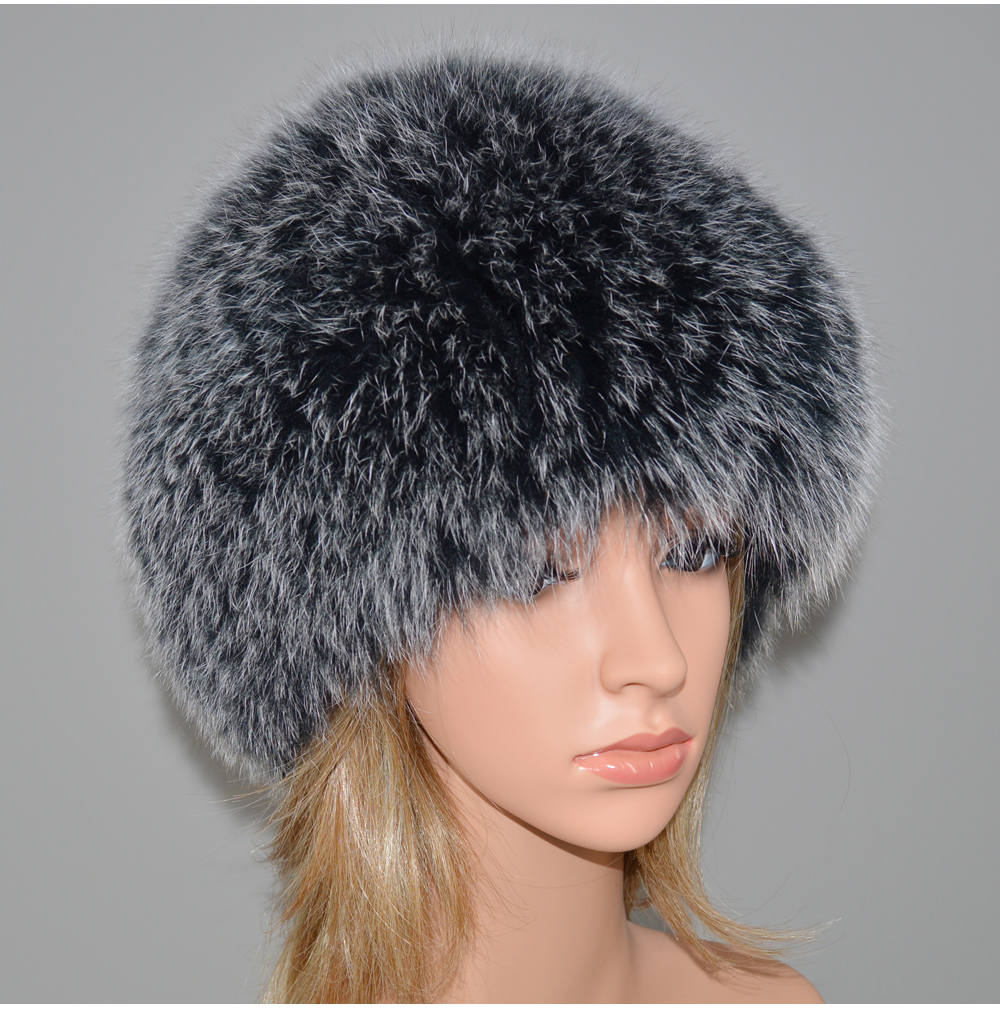H6e788302b7864e4ab7f188491c3890cfH - New Luxury 100% Natural Real Fox Fur Hat Women Winter Knitted Real Fox Fur Bomber Cap Girls Warm Soft Fox Fur Beanies Hats