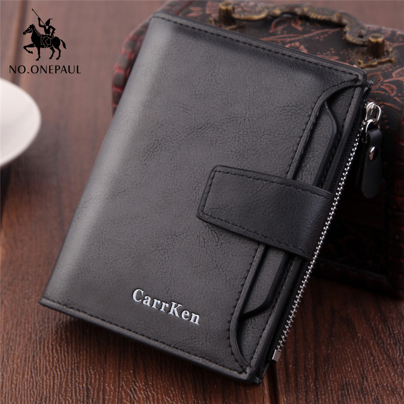 NO.ONEPAUL Genuine Leather Men Short Wallet Luxury Brand Wallets  Multifunctional Coin Pocket Photo Card Holder Retro Purses Men