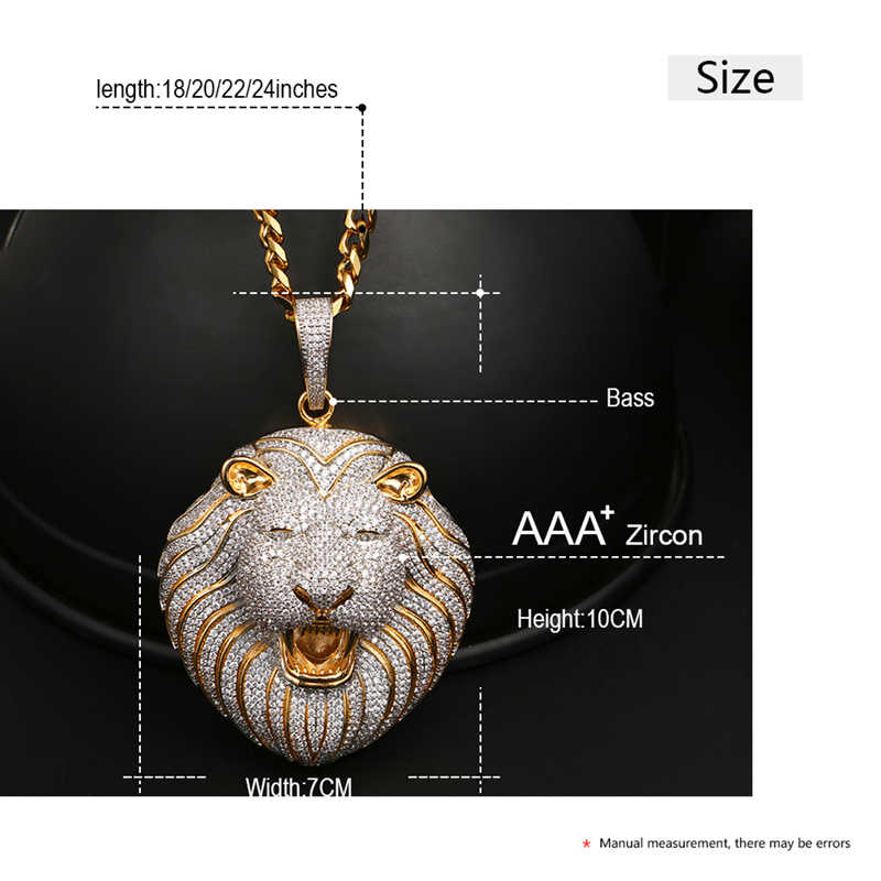 Big Abaggeration Lion HEAD จี้สร้อยคอ Hollow กลับ AAA Cubic Zircon สำหรับชาย Hip Hop เครื่องประดับบุคลิกภาพแฟชั่นของขวัญ
