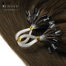 Vlasy 1g/s Micro Ring Hair Extensions Non-Remy Straight  Blonde Brown Micro Bead Loop Human Hair Extension 16'' 20'' 24''