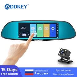 Зеркало-видеорегистратор ADDKEY, 7 дюймов, автомобильный регистратор FHD 1080P с сенсорным экраном, двумя объективами, камерой заднего вида, ночным...