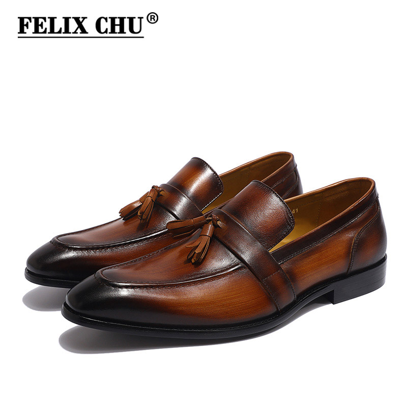 FELIX CHU peint à la main hommes marron noir gland mocassins en cuir véritable sans lacet hommes robe de mariée chaussures décontracté Business chaussure-in Chaussures décontractées homme from Chaussures    1