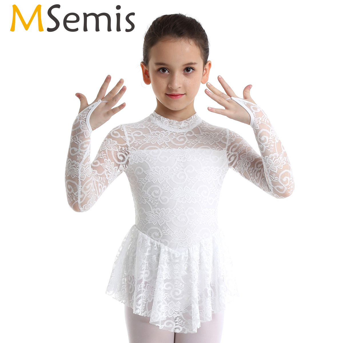 Figure Skating Dress Kids Girls Ice Skating Ballet Tutu Dress Gymnastics Leotard Floral Lace Competition Performance Dance Wear