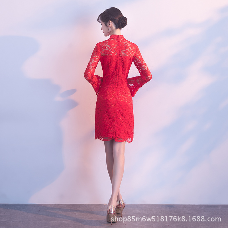 Bride Marriage Dress For Toast Short Slim Fit Slimming Red Lace Dress Modified Version Of Daily Life Cheongsam Dress
