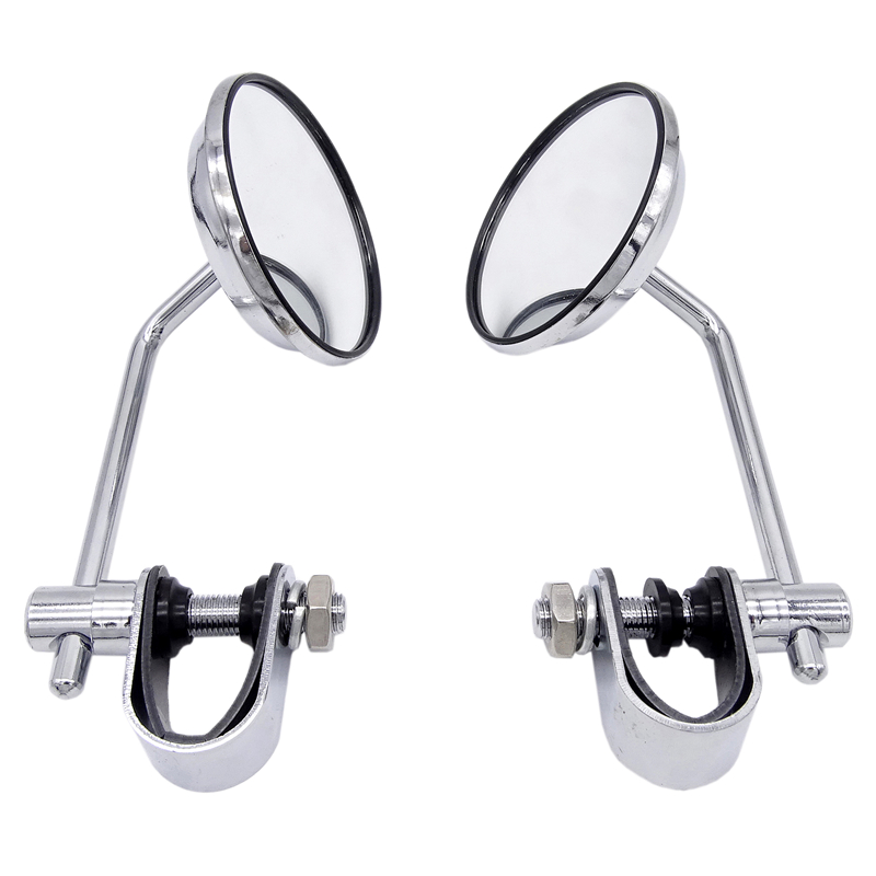 Universal  2 Pcs 8mm Motorcycle Back View Stainless Steel Mirror Classic Retro Vintage Round Rearview Mirror