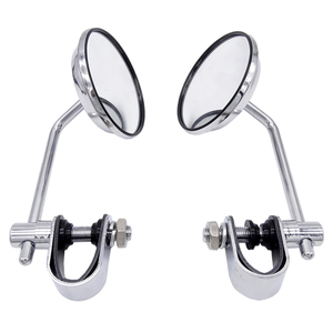 Universal 2 Pcs 8mm Motorcycle Back View Stainless Steel Mirror Classic Retro Vintage Round Rearview Mirror(China)